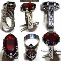 انگشتر جواهر نقره سنگ گارنت سرخ