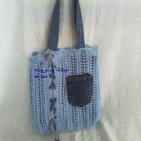 کیف بافتنی و جین آبی