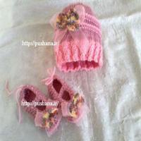کلاه و پاپوش بافت نوزادی صورتی با پاپیون 6-9ماه