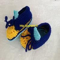 پاپوش نوزادی  دستباف مدل کفش اسپرت