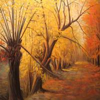 تابلو نقاشی منظره پاییزی