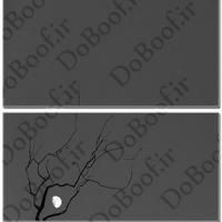 تابلو دو تکه افقی طرح درخت و ماه