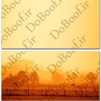 تابلو دو تکه افقی طرح غروب مزرعه