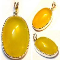 گردن آویزنقره با سنگ طبیعی عقیق زرد(شرف شمس)