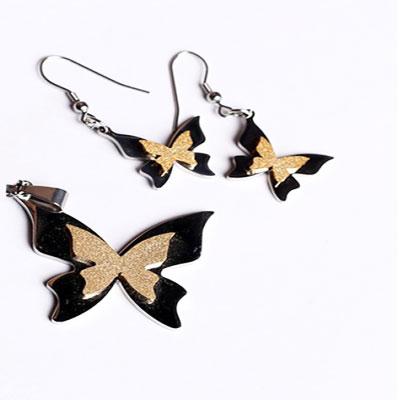نیم ست استیل طرح پروانه رنگ طلایی