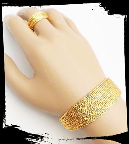 ست دستبند و انگشتر زنانه برنجی طرح طلا