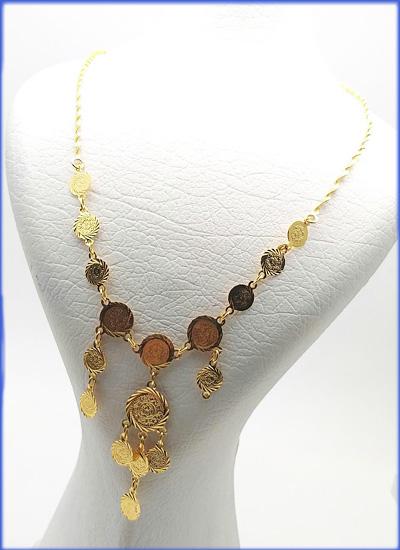 گردنبند زنانه برنجی طرح سکه