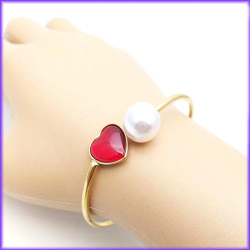 دستبند دخترانه استیل طرح قلب قرمز