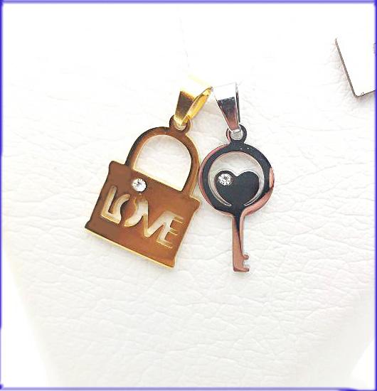 گردنبند دوتکه قفل و کلید کد 3 با دو زنجیر
