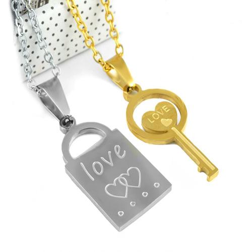گردنبند دو تکه قفل کلید کد 4 با دو زنجیر