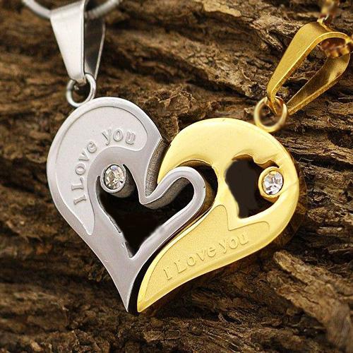 گردنبند استیل قلب دوتکه با 2 زنجیر