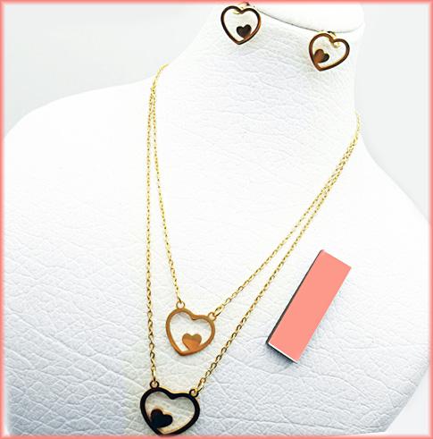 نیم ست استیل زنانه دو زنجیره طرح قلب