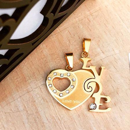 گردنبند استیل دو تیکه قلب و لاو با دو زنجیر