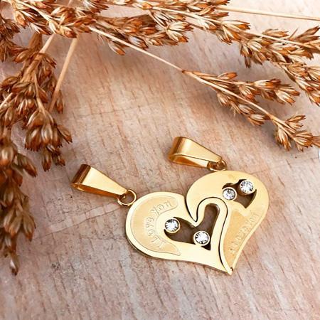 گردنبند استیل قلب دو تیکه با دو زنجیر