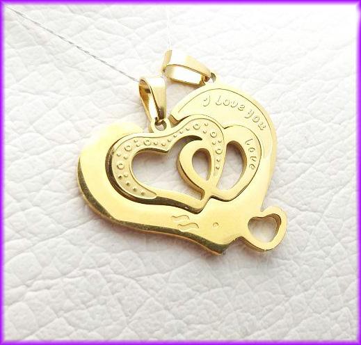 گردنبند طلایی قلب دو تیکه استیل کد 4 با دو زنجیر
