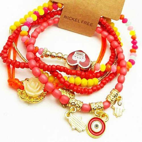 دستبند مهره ای دخترانه چند تکه رنگی مدل N1