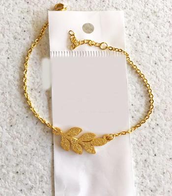 دستبند زنانه استیل طرح برگ