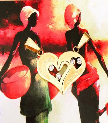 گردنبند استیل قلب دو تیکه طلایی با دو زنجیر