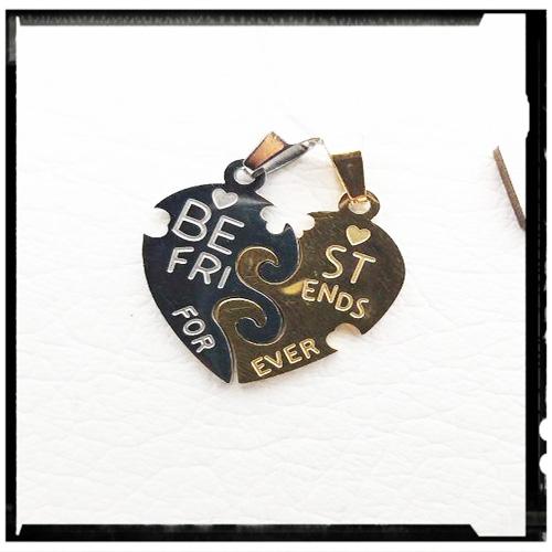 گردنبد قلب دوتکه استیل طرح دوستی با دو زنجیر