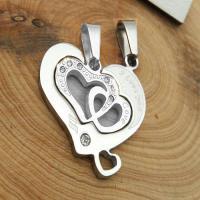 گردنبند قلب دو تیکه استیل کد 4 با دو زنجیر