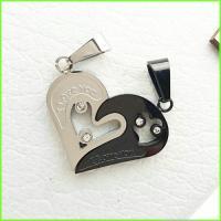 گردنبند قلب دوتکه استیل کد 7 با دو زنجیر