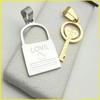 گردنبند دوتکه استیل قفل و کلید با 2 زنجیر