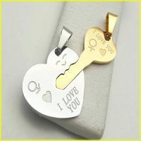 گردنبند دوتکه استیل قلب و کلید با دو زنجیر
