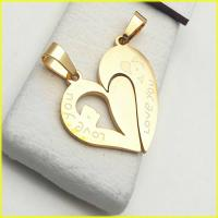 گردنبند قلب دوتکه استیل با 2 زنجیر کد 2