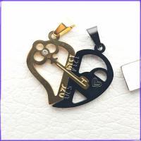 گردنبند زوج قلب دوتیکه استیل کد 9 با زنجیر