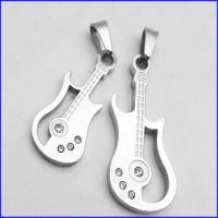 گردنبد دوتایی استیل طرح گیتار با 2 زنجیر