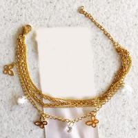دستبند زنانه زنجیری استیل با آویز پروانه