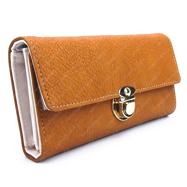 کیف پول زنانه خردلی کد 603015