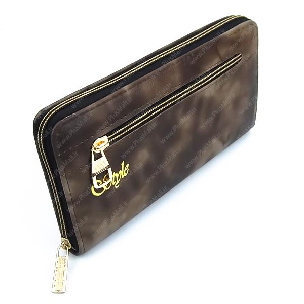 کیف پول زنانه قهوه ای کد 603025