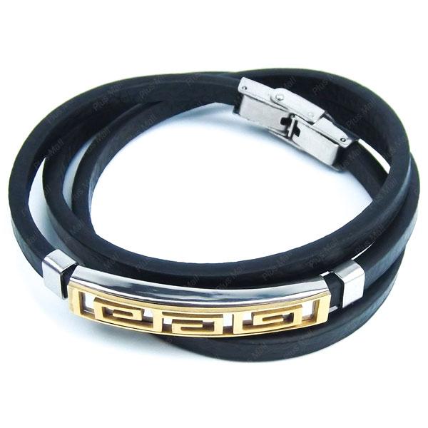 دستبند چرمی مشکی طرح دار DM980006
