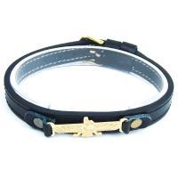 دستبند چرمی مشکی طرح فروهر DM980005
