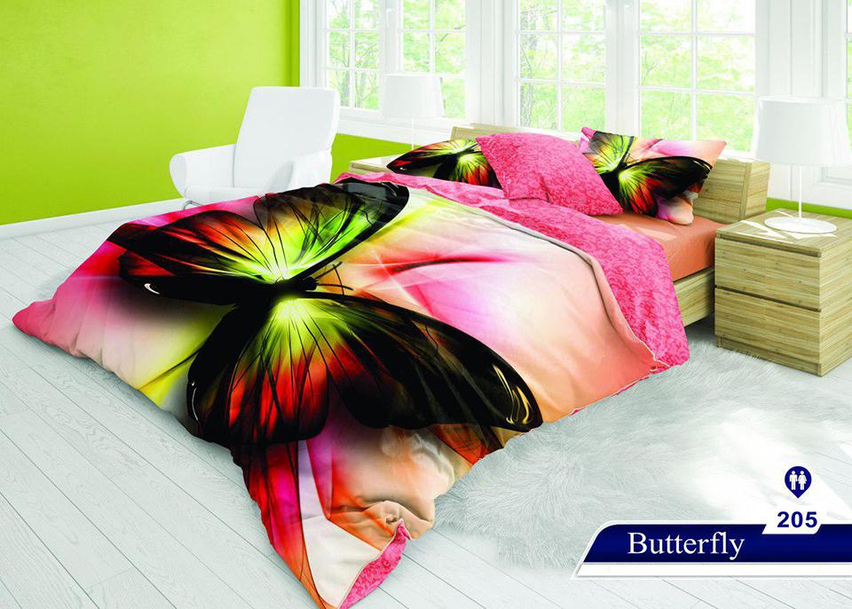 سرویس خواب دو نفره 6تکه سه بعدی Caren کد 205 طرح Butterfly