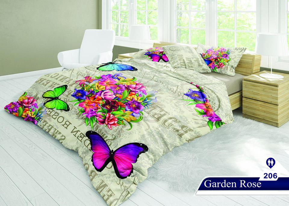 سرویس خواب دو نفره 6تکه سه بعدی Caren کد 206 طرح Garden Rose
