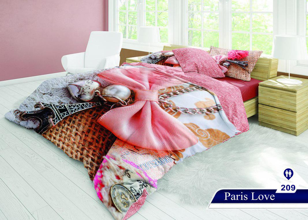 سرویس خواب دو نفره 6تکه سه بعدی Caren کد 209 طرح Paris Love