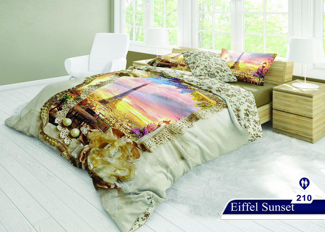 سرویس خواب دو نفره 6تکه سه بعدی Caren کد 210 طرح Eiffel Sunset