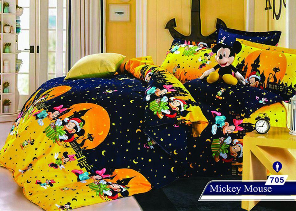 سرویس خواب یک نفره 4تکه عروسکی Caren کد 705 طرح Mickey Mouse