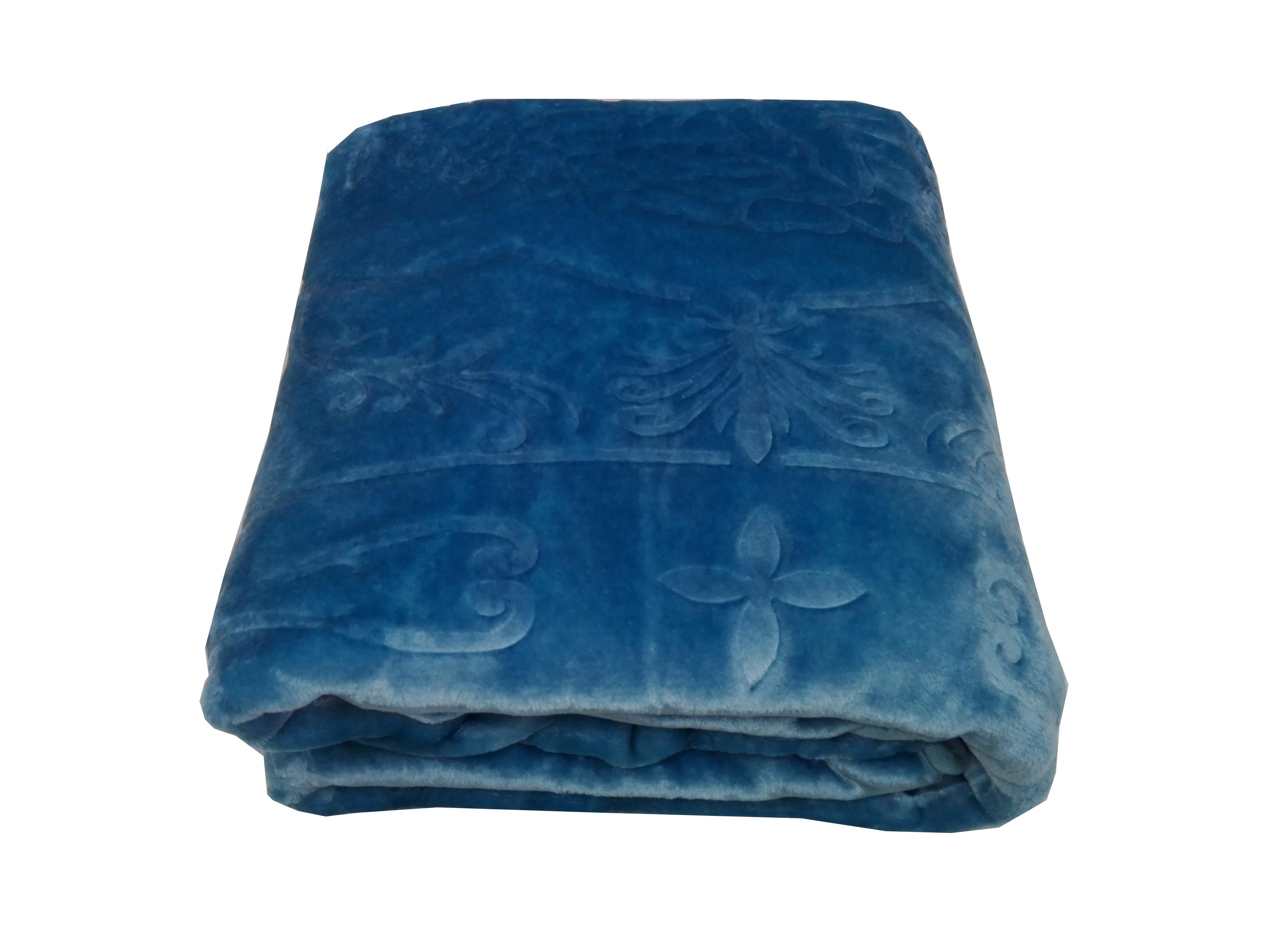 پتوی یک نفره ساده سوپر برجسته نرمینه رنگ آبی فیروزه ای  (کد224) سایز 220*160 سانتی متر1