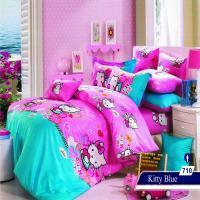 سرویس خواب یک نفره 4تکه عروسکی Caren کد 710 طرح Kitty Blue