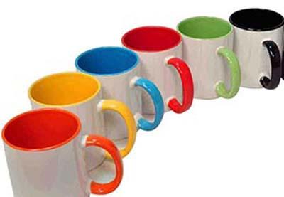لیوان سرامیکی داخل و دسته رنگی