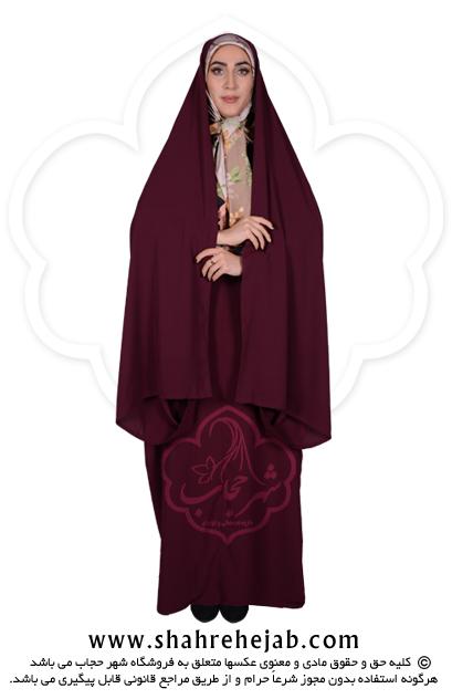 چادر کمری قجری شهر حجاب کد 01 رنگ زرشکی