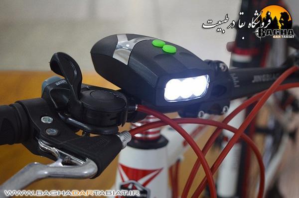چراغ جلوی دوچرخه همراه با زنگ الکترونیکی