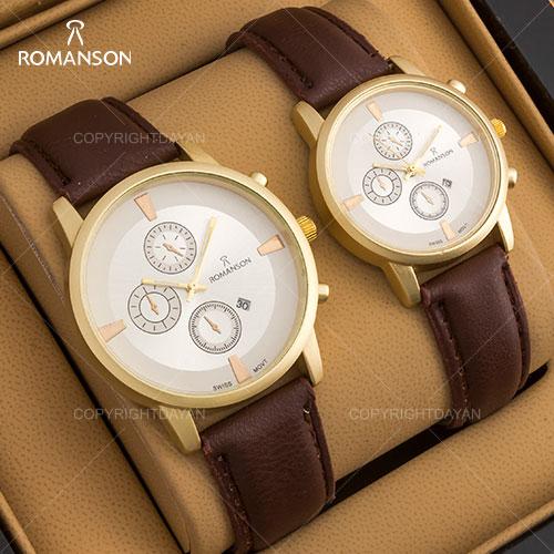 ست ساعت مردانه و زنانه Romanson مدل Kezas(قهوه ای)
