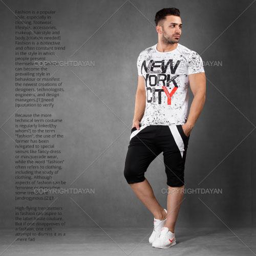 ست تیشرت و شلوارک مردانه New York City مدل M9095