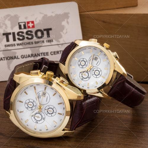 ست ساعت مردانه و زنانه Tissot مدل Tempel(قهوه ای)