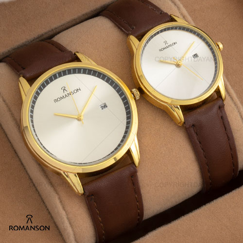 ست ساعت مردانه زنانهRomansonمدلW1302(قهوه ای طلایی)