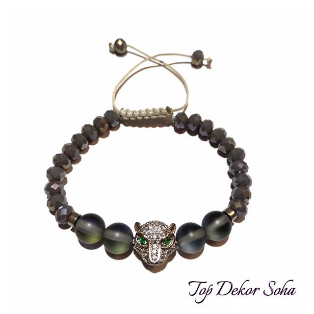 دستبند زنانه با خرجکار کله ببر نقره ای